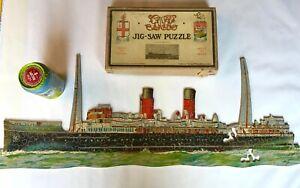 ANTIQUE GWR CHAD VALLEY WOODEN JIGSAW SS ST. JULIEN CHANNEL ISLAND & WW2 SHIP