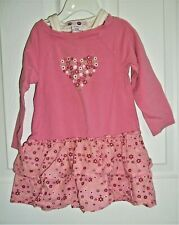 Baby Girls size 24 months Who Do You Love pink ruffle long sleeves dress