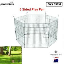 63 x 60cm 6 Sided Pet Dog Play Pen Playpen Exercise Cage Puppy Enclosure Fence