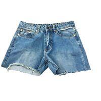 SIGNATURE8 Jean Shorts Women's Size Medium Cut Off Raw Hem Distressed Med Wash