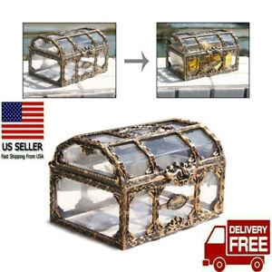 Pirate Treasure Chest Storage Box for Coins Jewelry Vintage Retro Antique Case