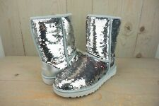 UGG CLASSIC SHORT   SEQUIN SPARKLE SILVER PINK BOOTS WOMENS  US 9 NIB
