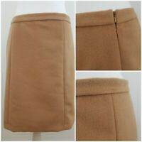 M&S Marks and Spencer Nutmeg Brown Beige Knee Length Skirt with Wool Size 12