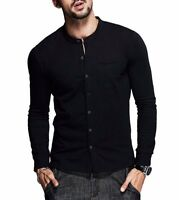 Popular Mens Slim fiited Long Sleeve Stand Collar Solid Casual Shirts M L XL XXL