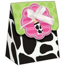 Baby Cow Print Girl Baby Shower Favor Bags w/Ribbon 12 Per Pack
