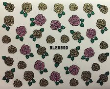 Nail Art 3D Decal Stickers Glittery Pink & Gold Roses BLE859D