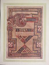 1914 stampa ~ PIASTRA illuminante dal libro di Kells ~ TUNC crucifixerant
