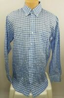 TURTLESON Mens Blue White Check Linen L/S Casual Dress Button Shirt Sz Medium