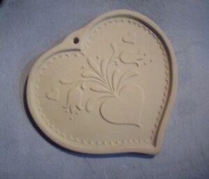 Folk Art Heart Tulips Brown Bag Ceramic Cookie Mold Hill Design 1986