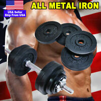 All Iron 50lb 52.5lb Adjustable Dumbbell Weights Metal Black Plated