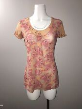 J. JILL SEMI SHEER Peach Orange Stretchy Soft Fabric BLOUSE TOP size S floral