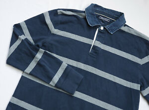 Tommy Hilfiger Rugby Polo shirt mens Long Sleeve top size XL navy blue STRIPED