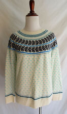 Talbots Petites Large White Blue Nordic Fair Isle Scandinavian Winter Sweater LP