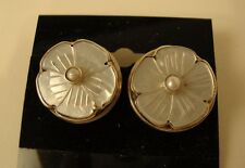 "Sterling Post Earrings w Carved Flower Mother of Pearl w Faux Pearl by ""MD"""
