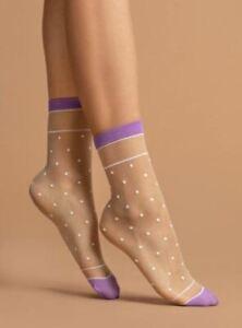 Polka Dot Contrast Band and Toe Patterned Hosiery Socks LIZ 15 Denier Nylon Sock