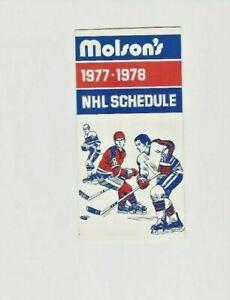 1977-78 Molson NHL Schedule  Unmarked N-M