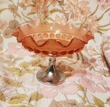 "Art Deco Pink Glass Blackberry Prunt Chrome Cake Stand Bowl Tazza 8"" wide x 6"""