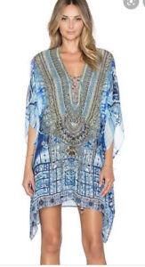 Camilla Silk Embellished Blue Short Kaftan Front Tie Up Power Of Prayer Dress