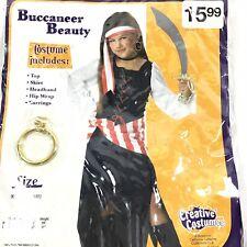 Pirate Girl Halloween Costume Sz M 8-10 Dress Buccaneer 5 pc Child