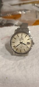 Vintage s/s omega constellation turler linen dial watch original 1093 riveted