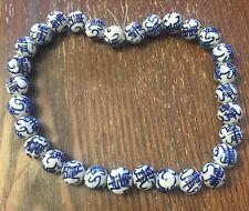 Vintage Asian Big Deep Blue White Dynasty Figural Symbol Round Ceramic Bead Lot
