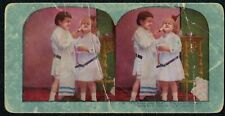 """Antique Stereo View Card #1120 """"I'll Show You How"""", Two Little Sisters c.1905"""
