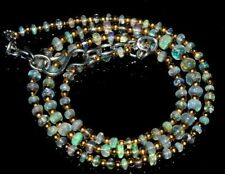 """32Crt Natural Ethiopian Welo Fire Opal Beads 2X4Mm 16"""" Nacklace  Gemstone -dc99"""