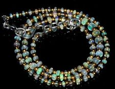 """32Crt Natural Ethiopian Welo Fire Opal Beads 2X4Mm 16"""" Nacklace  Gemstone -dds"""