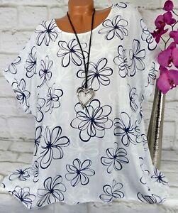 Shirt T-Shirt Tunika Bluse Italy Top Oversize Viskose Gerade Weiß 50 52 54