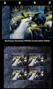 NORTHWEST TERR #7M 2003 BLACK BEAR CONSERVATION STAMP MINI SHEET OF 4 IN FOLDER