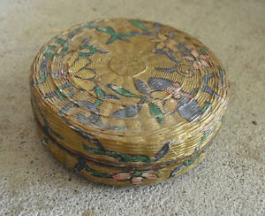Vintage Fancy Metal Small Round Floral Lidded Ring Box