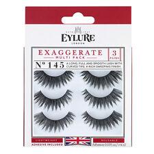 (Multi-Pack 3 PAIRS) Eylure Exaggerate #145 False Eyelashes Fake Lashes Black