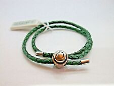 Persona Green Double Wrap Braided Leather Bracelet with Silver Barrel Clasp NEW