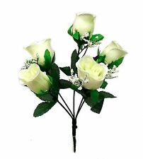 5 Soft Roses Bud Artificial Silk Flowers Wedding Bouquet Fake Faux Party Decor