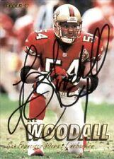 Signed Lee Woddall San Francisco 49ers 1997 Fleer Football Card  #328 w/COA