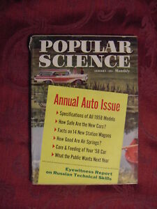 POPULAR SCIENCE Magazine January 1958 ANNUAL AUTO ISSUE New Model Cars