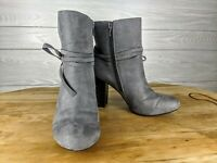 Christian Siriano Women's Perforated Faux Suede Heeled Boots Gray size 7