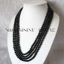 """100"""" 6-7mm Black Freshwater Pearl Necklace Strand Cultured UE"""