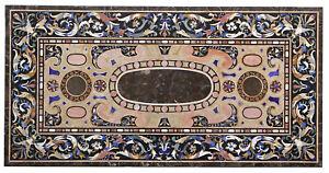 Brown Marble Dining Table Top Precious Scagliola Inlay Handmade Arts Decors B505