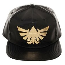 NINTENDO LEGEND OF ZELDA GOLD METAL SHIELD PU FAUX LEATHER SNAPBACK HAT CAP BLK