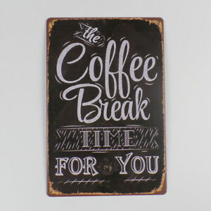 Coffee Tin Sign Decoration Plaque Metal Vintage Wall Decor for Cafe Bar Pub