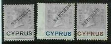 BK0248b - CYPRUS -  REVENUE  STAMPS: Barefoot # 1 / 3 overprinted SPECIMEN