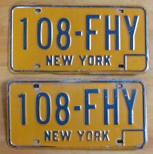 New York 1970 License Plate PAIR # 108-FHY
