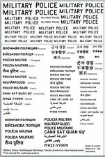 Military Police Multilingual  Decals 1/16 1/25 1/24 1/35 1/32 1/48 1/72 1/144