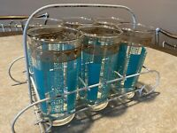 """6 Vintage Turquoise & Gold Mid Century Modern 10 Oz 5"""" Glasses In Metal Carrier"""