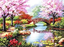 """Dimensions Gold Counted Cross Stitch kit 16"""" x 12"""" ~ JAPANESE GARDEN #70-35313"""
