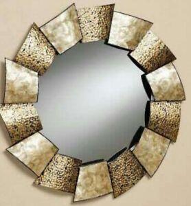 Metal Steampunk Gold Rustic Round Antique Square Blocks Big Wall Art Mirror