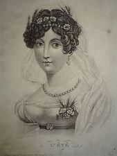 BELLE GRAVURE ALLÉGORIE ÉTÉ SAISON PORTRAIT FEMME MODE FLEUR COIFFE FASHION 1820