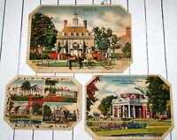 Vtg Cardboard Trivets Hot Pad Travel Souvenirs Virginia Landmark Farmhouse Decor