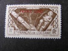 "FRENCH POLYNESIA, SCOTT # 135, 20fr. VALUE DARK BROWN 1941 ""FRANCE LIBRE"" MVLH"